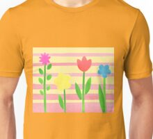 Flower Bed On Baby Pink Unisex T-Shirt