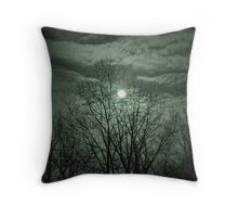 Infrared Moon Over Trees Throw Pillow