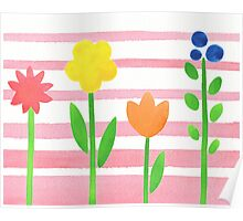 Flowers Garden On Baby Pink Poster