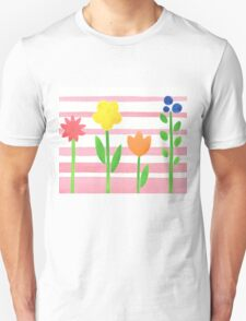 Flowers Garden On Baby Pink T-Shirt