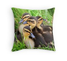 Ducklings snuggled together Throw Pillow