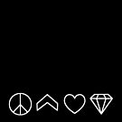 Peace, Chevron, Love, Diamond - white on black by VMDolphin