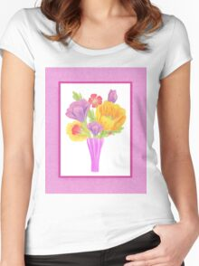 Flowers In The Vase On Baby Pink Women's Fitted Scoop T-Shirt