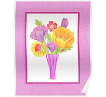 Flowers In The Vase On Baby Pink Poster