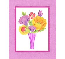Flowers In The Vase On Baby Pink Photographic Print