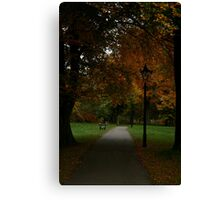 Benches & Lamposts Amongst Autumn Trees  Canvas Print