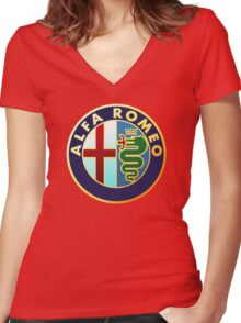 Alfa Romeo - Classic Car Logos Women's Fitted V-Neck T-Shirt