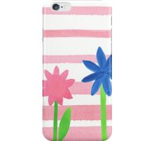 Baby Pink Stripes Flowers iPhone Case/Skin