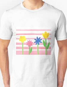 Baby Pink Stripes Flowers T-Shirt