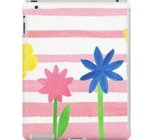 Baby Pink Stripes Flowers iPad Case/Skin