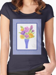 Baby Blue Flower Bouquet  Women's Fitted Scoop T-Shirt