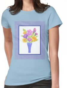 Baby Blue Flower Bouquet  Womens Fitted T-Shirt