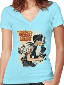 Tanker Girl Women's Fitted V-Neck T-Shirt