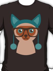 Cute Cat Hipster Animal With Glasses T-Shirt