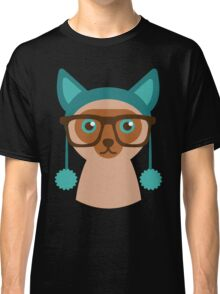Cute Cat Hipster Animal With Glasses Classic T-Shirt