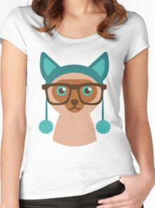 Cute Cat Hipster Animal With Glasses Women's Fitted Scoop T-Shirt