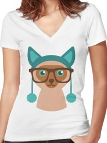 Cute Cat Hipster Animal With Glasses Women's Fitted V-Neck T-Shirt