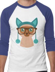 Cute Cat Hipster Animal With Glasses Men's Baseball ¾ T-Shirt