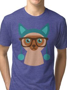Cute Cat Hipster Animal With Glasses Tri-blend T-Shirt