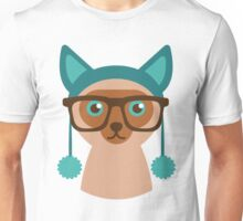 Cute Cat Hipster Animal With Glasses Unisex T-Shirt