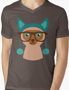 Cute Cat Hipster Animal With Glasses Mens V-Neck T-Shirt
