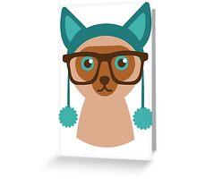 Cute Cat Hipster Animal With Glasses Greeting Card