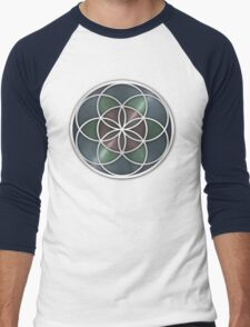Sacred Geometry: Seed of Life VII - Stained Metal Men's Baseball ¾ T-Shirt