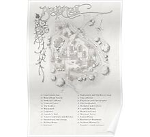 Bourmout map [monochrome] Poster