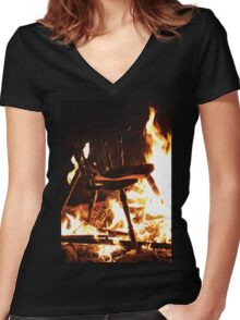 Burning Chair Women's Fitted V-Neck T-Shirt