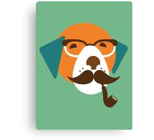 Cute Beagle Dog Hipster Animal With Pipe Canvas Print