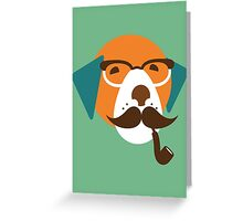 Cute Beagle Dog Hipster Animal With Pipe Greeting Card