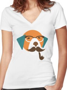 Cute Beagle Dog Hipster Animal With Pipe Women's Fitted V-Neck T-Shirt
