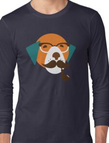 Cute Beagle Dog Hipster Animal With Pipe Long Sleeve T-Shirt