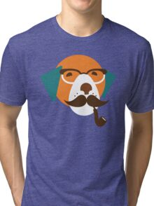 Cute Beagle Dog Hipster Animal With Pipe Tri-blend T-Shirt