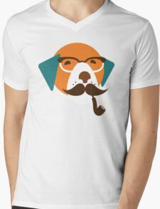 Cute Beagle Dog Hipster Animal With Pipe Mens V-Neck T-Shirt