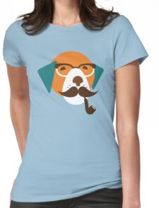 Cute Beagle Dog Hipster Animal With Pipe Womens Fitted T-Shirt