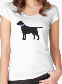 Black Labrador Retriever Preppy Silhouette Women's Fitted Scoop T-Shirt