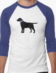Black Labrador Retriever Preppy Silhouette Men's Baseball ¾ T-Shirt