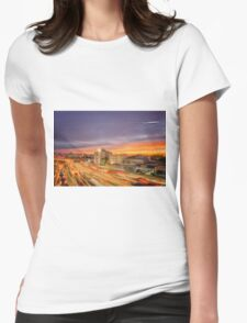 Car Light Trails Womens Fitted T-Shirt
