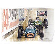 Monaco GP 1964 BRM Brabham Ferrari Poster