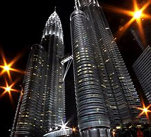 Petronas Twin Towers at night by Trevor Needham