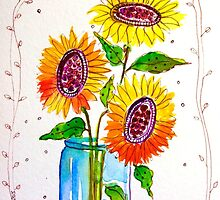Sunflowers in a Blue Jar by ThistleblueArt1
