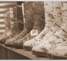 Crazy Wellies in Sepia by Christine Markram