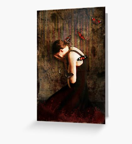 Girl with Red Butterflies Greeting Card