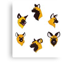 Painted Hunting Dog Faces Canvas Print