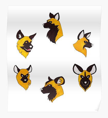 Painted Hunting Dog Faces Poster