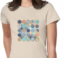 Peach and Blue Geometric Tile Pattern Womens Fitted T-Shirt