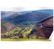 View from the Horseshoe Pass, llangollen Poster