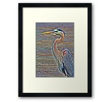 Blue Heron With HDR Framed Print