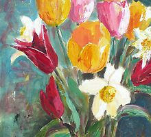 Tulips in a vase( Spring) by Saga Sabin